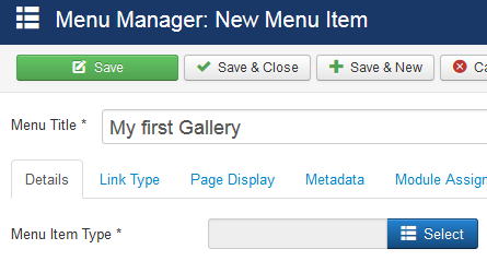 Create a menu entry