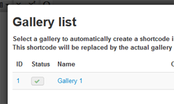 Select your gallery in the lightbox
